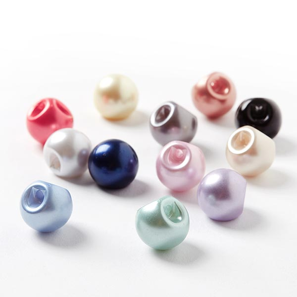 Bouton perle polyester Brillant - rose