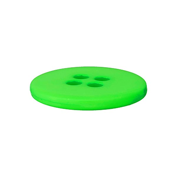 Bouton polyester 4 trous FLUO - vert fluo