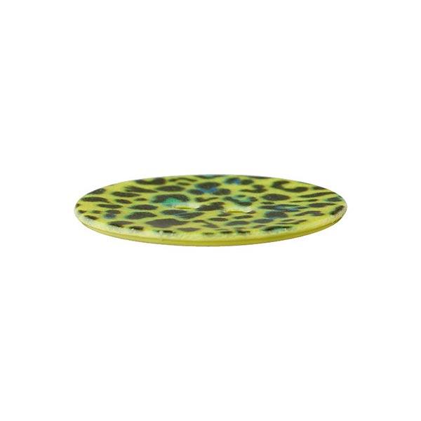 Bouton polyester 2 trous Léopard – vert pomme