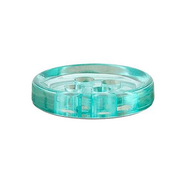 Bouton polyester 4 trous [11mm] – bleu aqua