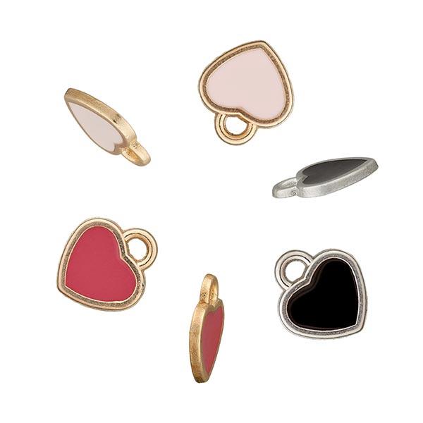 Accessoire métallique Pendentif Cœur – noir/or