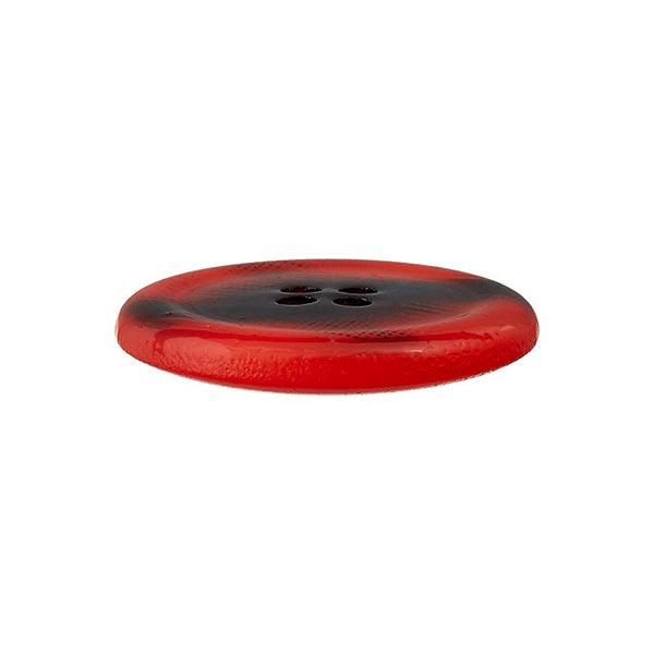 Bouton polyester 4 trous – rouge vif/noir