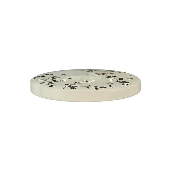 Bouton polyester 2 trous Feuilles – gris clair