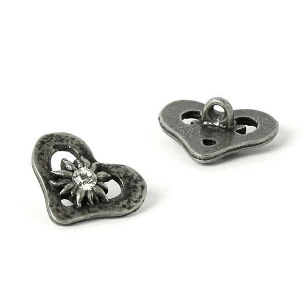Bouton métallique Cœur de costume Edelweiss