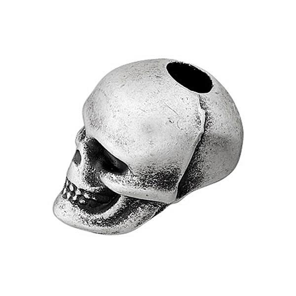 Extrémité de cordon Tête de mort - argenté