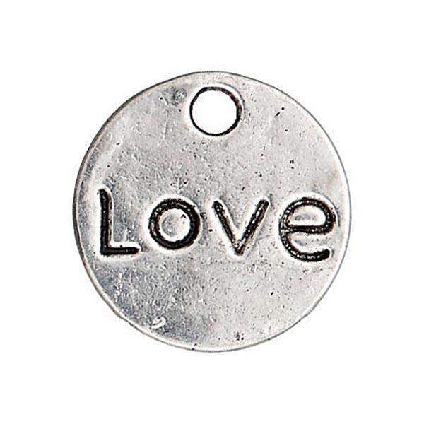 Metallzierteil Anhänger Love/Herz – silber