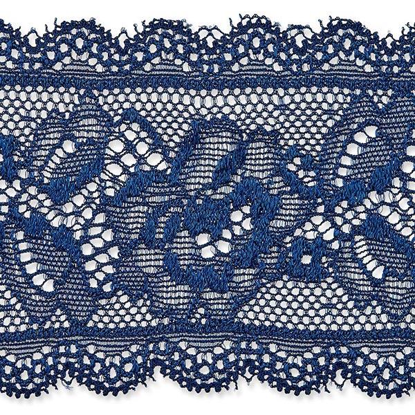 Dentelle élastique Rinceau de fleurs [58 mm] – bleu marine
