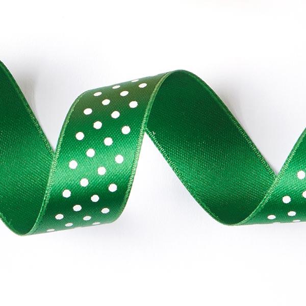 Bande de satin Points - vert pré / blanc