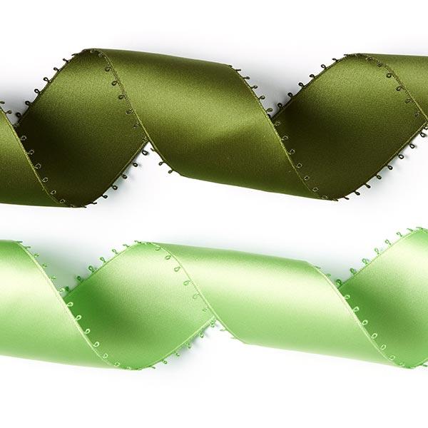 Bande de satin Bordure picot - vert pomme