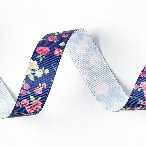 Ruban de reps Imprimé floral [15 mm] - bleu marine