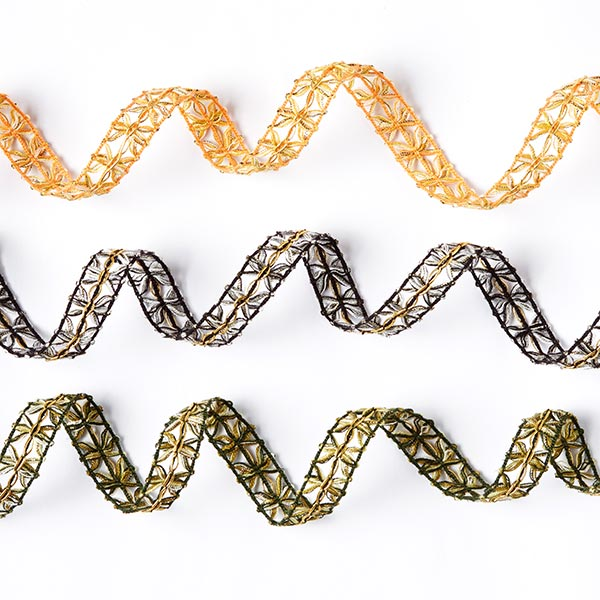 Galon crocheté Lurex [18 mm] - orange/doré