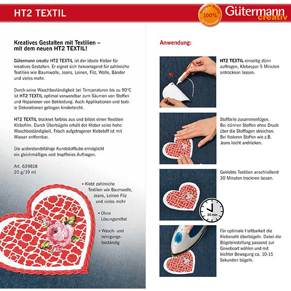 Gütermann colle à textile HT2 Textil [20 g/19 ml] | Gütermann