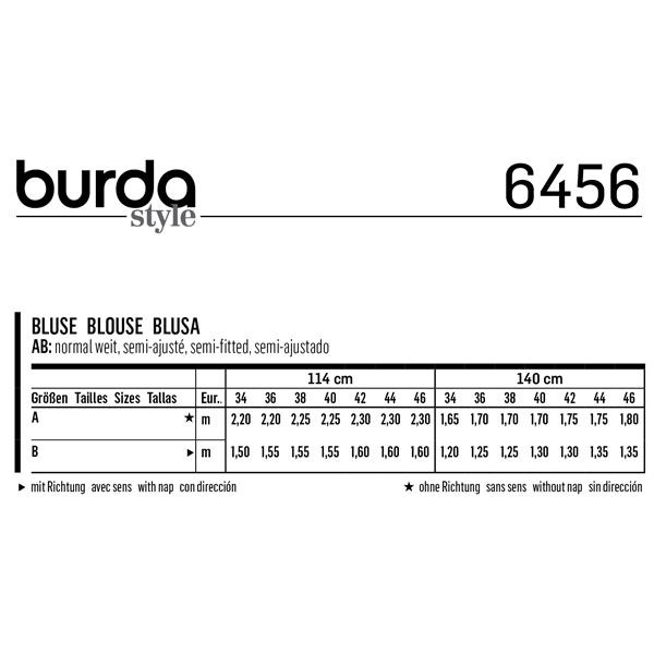 Blouse, Burda 6456 | 34 - 46
