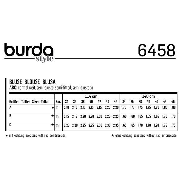 Blouse, Burda   Gütermann 6458   34 - 46