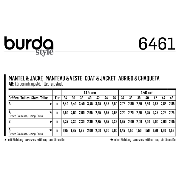 Manteau | Veste, Burda 6461 | 34 - 46