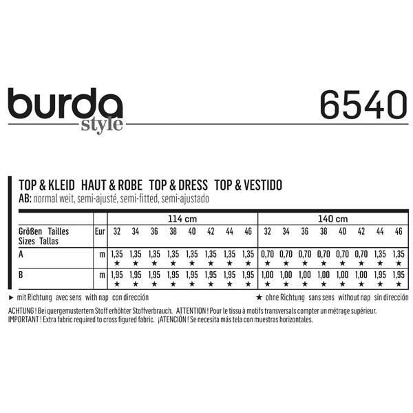 Haut / Robe, Burda 6540