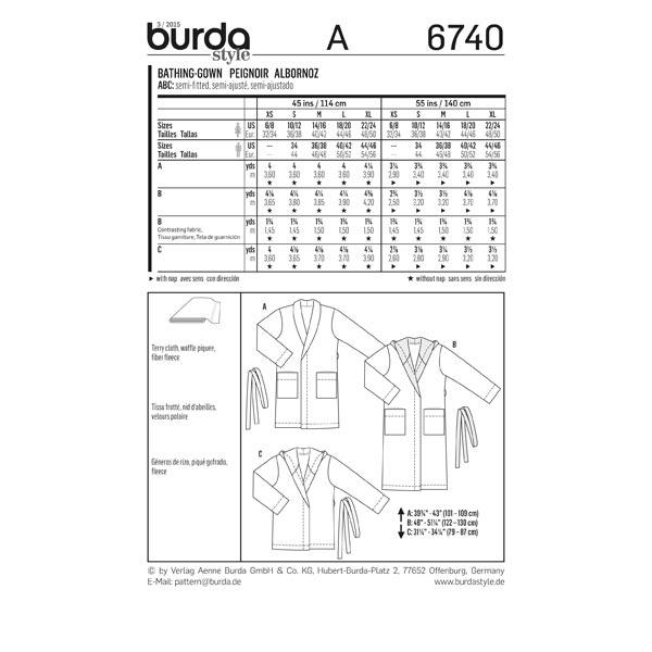 Peignoir, Burda 6740