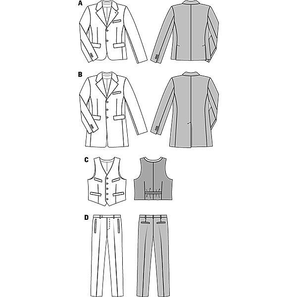 Costume pour homme + veste / redingote, Burda 6871