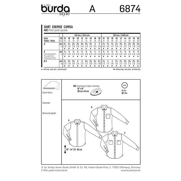 Chemise pour hommes, Burda 6874
