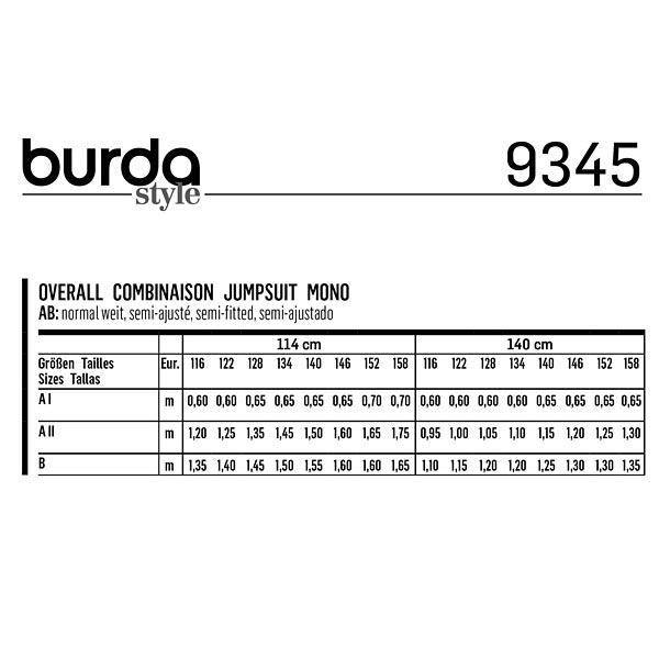 Combinaison, Burda 9345   116 - 158