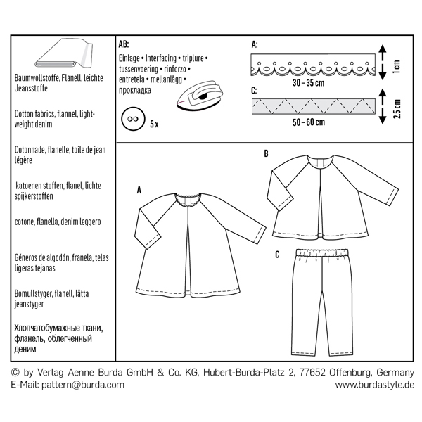 Robe ample | Blouse | manches raglan | pantalon, Burda 9348 | 68 - 98