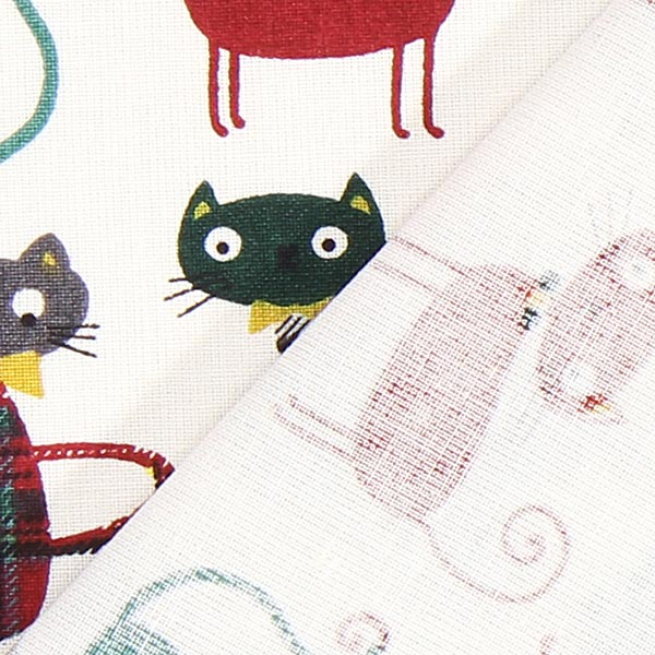 Cretonne Katze 3 – dunkelgrün