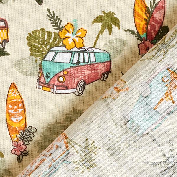 Tissu en coton Cretonne Roadtrip Surf – beige