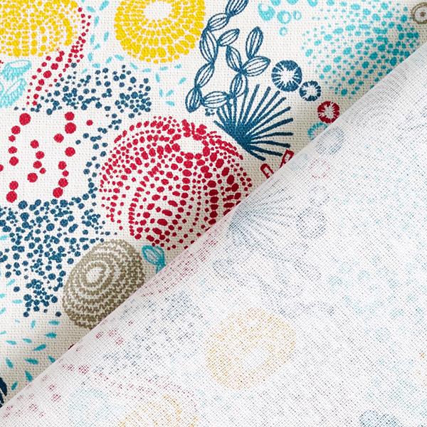 Tissu en coton Cretonne Corail – blanc