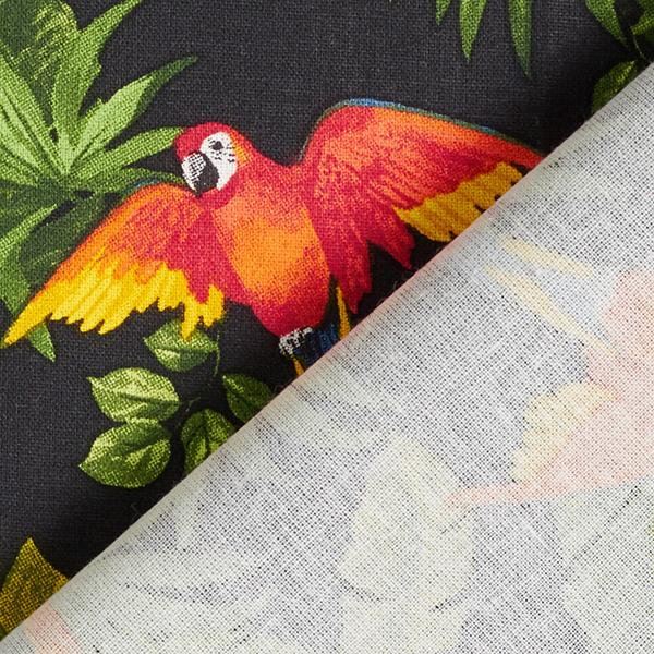 Tissu en coton Cretonne Perroquet – noir