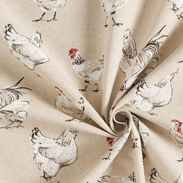 Tissu de décoration Semi-panama Poules – nature