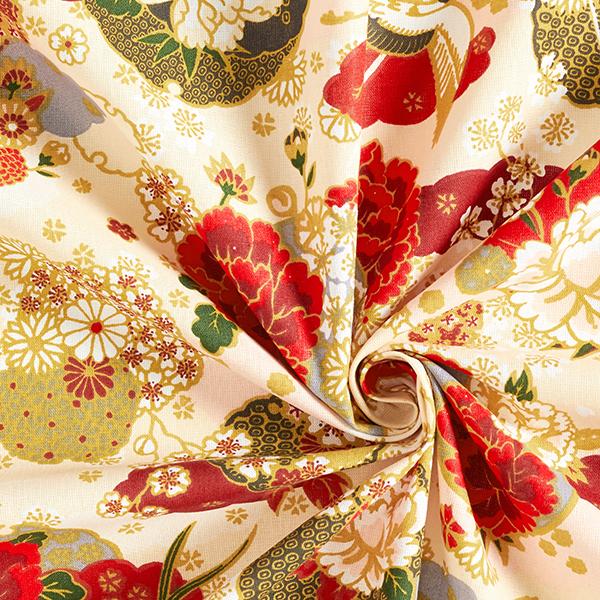 Tissu en coton Cretonne Ikebana – jaune