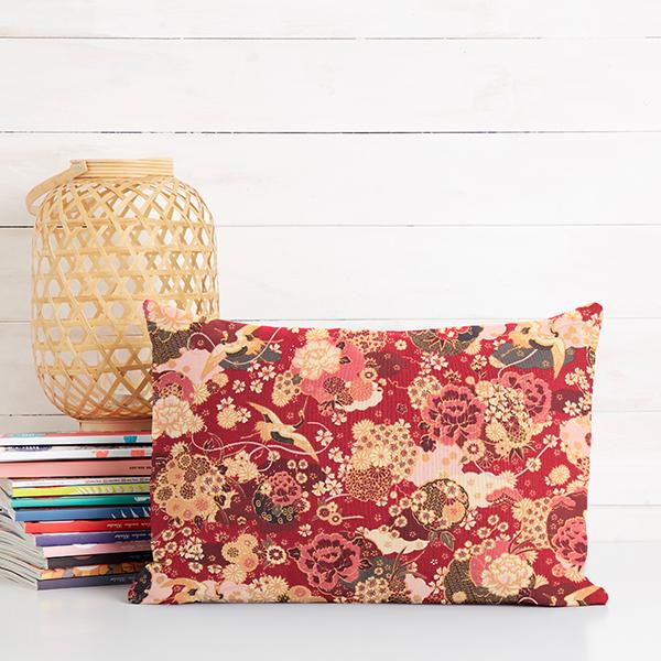 Tissu en coton Cretonne Ikebana – rouge