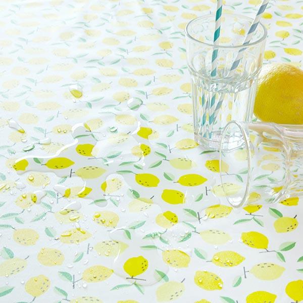 Coton enduit Citrons – bleu aqua