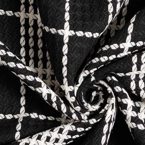Tartan & Cables Wool Blend Coating – noir/blanc