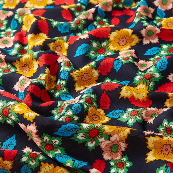 Tissu fin en viscose Fleurs de chardon – navy