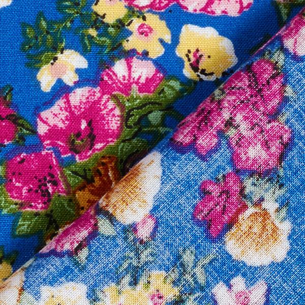 Tissu fin en viscose Géraniums – bleu roi