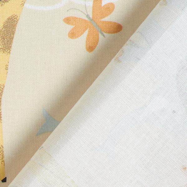 Tissu en coton Cretonne Animaux de safari GOTS – beige