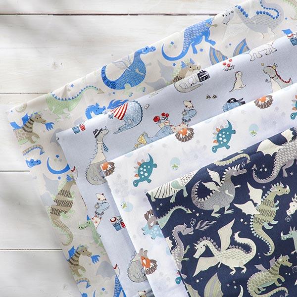 Tissu en coton Cretonne Dragons & Monstres – anthracite/vert
