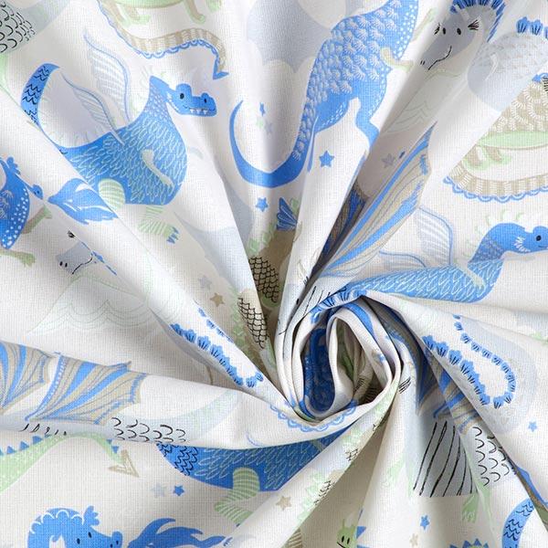 Tissu en coton Cretonne Dragons & Monstres – écru/bleu