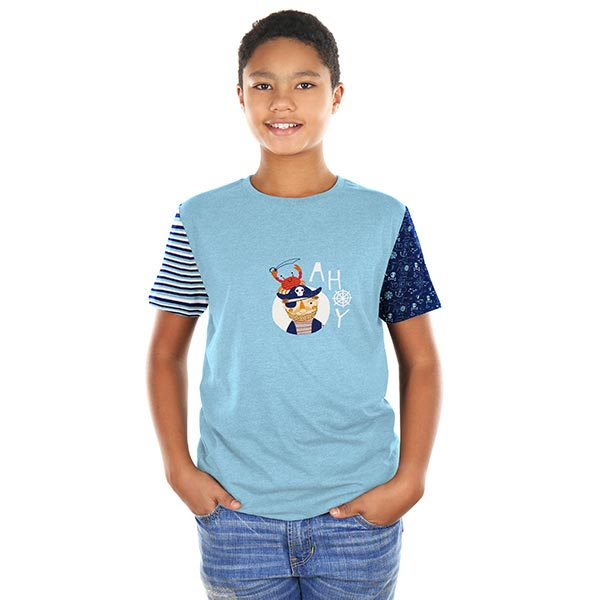 Coupon de jersey coton pirate – bleu clair