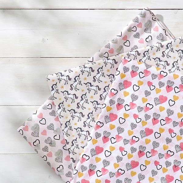 Jersey coton Licorne scintillante – crème/or