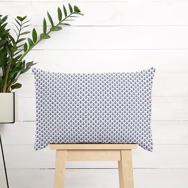 Tissu en coton Cretonne Ancres et étoiles GOTS – gris clair/bleu marine