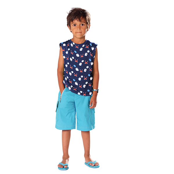 Jersey coton Ohé! – bleu marine/rouge