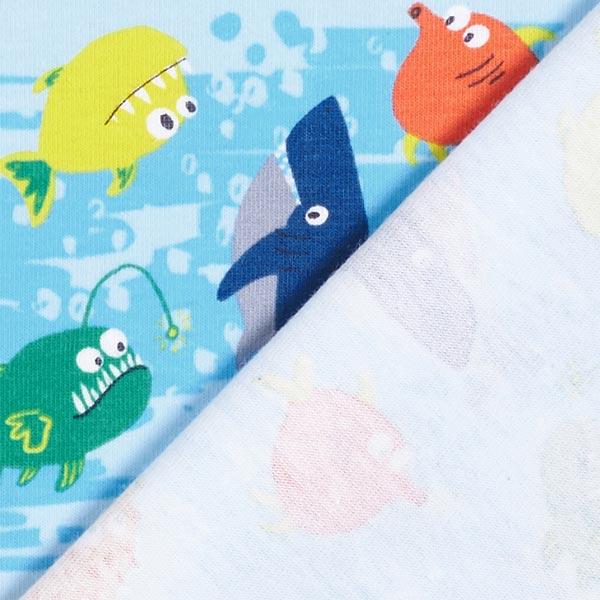 Baumwolljersey freundliche Fische – blau