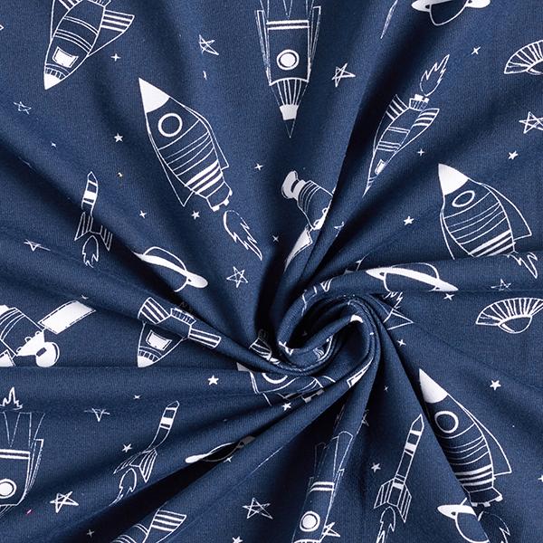 Jersey coton Fusées dans l'espace – bleu marine