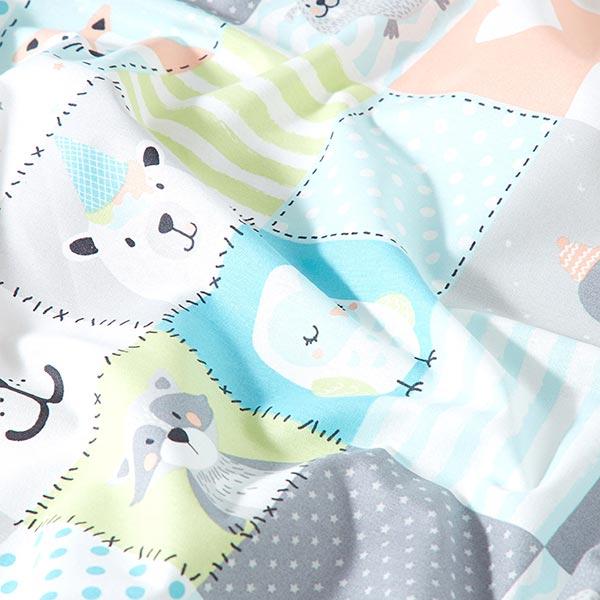 Tissu en coton Cretonne Animaux patchwork amusants – vert clair/turquoise