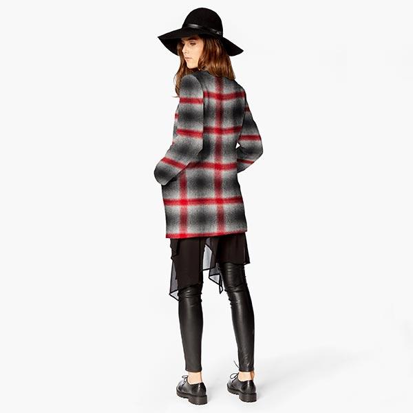 Tissu pour manteau Mélange laine vierge Grands carreaux – rouge/anthracite