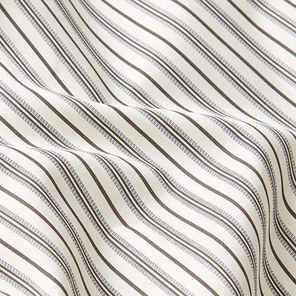 Tissu pour chemise Mélange coton Rayures verticales – écru/kaki