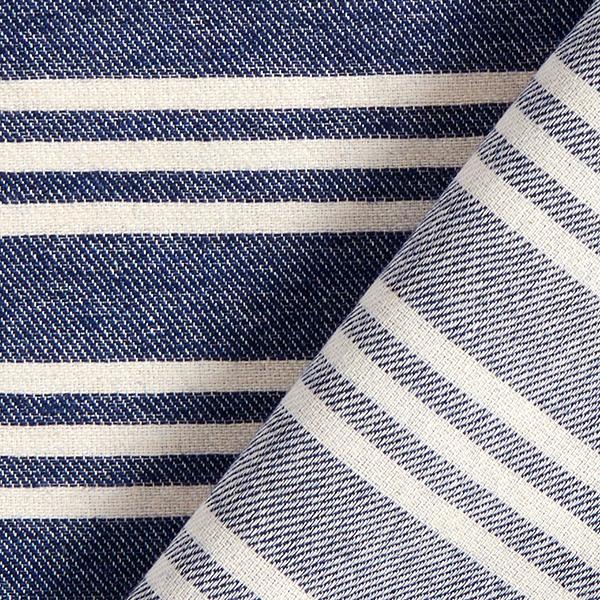 Mélange coton Aspect lin Rayures – bleu marine