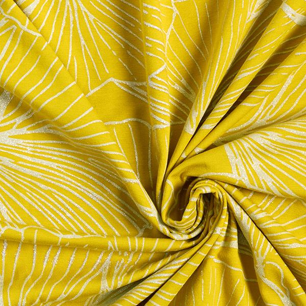 Jersey coton Ginko scintillant – moutarde